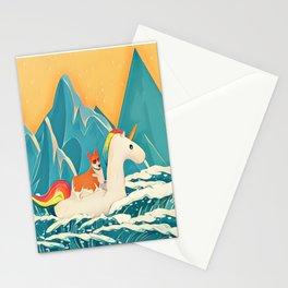 Corgi and the rainbow unicorn Stationery Cards