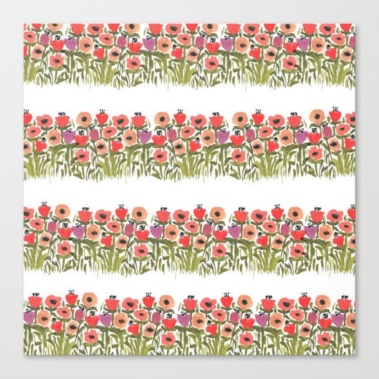 Flower stripe garden Canvas Print