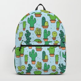 Cute Cactus Cacti Pattern Light Blue Background Backpack