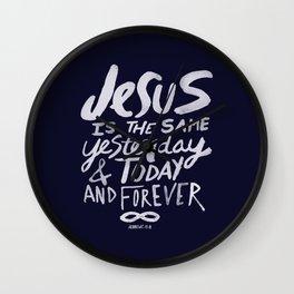 Hebrews 13: 8 x Navy Wall Clock