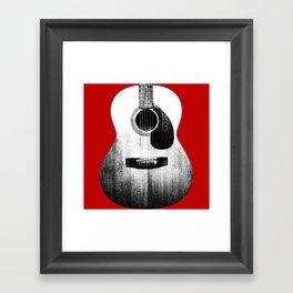 Guitar - Body, Red Background Framed Art Print