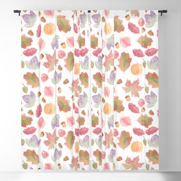Watercolor Fall Leaves Blackout Curtain