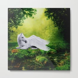 Pegasus By The Stream Metal Print