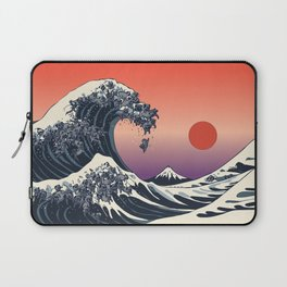 The Great Wave of Black Pug Laptop Sleeve