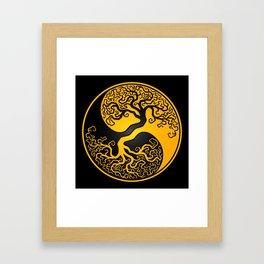 Yellow and Black Tree of Life Yin Yang Framed Art Print