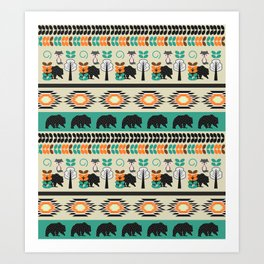 Native spirit with foxes and bears Art Print