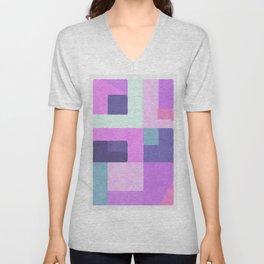 Violet Squares Unisex V-Neck
