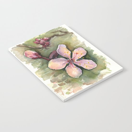 Cherry Blossom Watercolor Painting   Spring Flowers Notebook