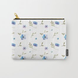 Blue watercolor flowers #2 Carry-All Pouch