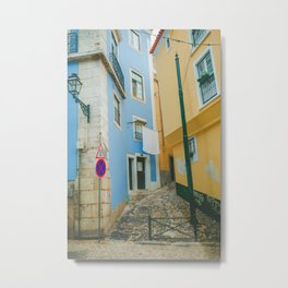 Colorful Blue and Yellow Wall in Lisboa Metal Print