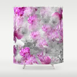 CHERRY BLOSSOMS ORCHIDS AND MAGNOLIA IMPRESSIONS IN PINK GRAY AND WHITE Shower Curtain