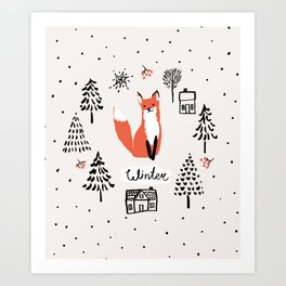Cute red fox in the fir trees with snow. Art Print