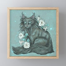 Maine Coon Cat and Moonflowers Framed Mini Art Print