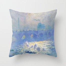 Claude Monet's Waterloo Bridge Throw Pillow