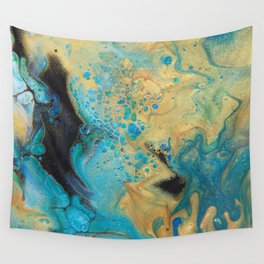 Fluid nature - Golden Sands -  Acrylic Pour Art Wall Tapestry