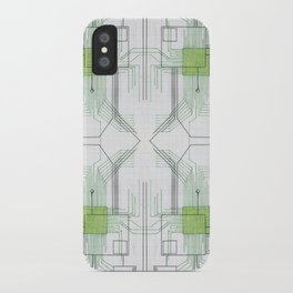 Circuit board green repeat iPhone Case