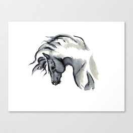 Gray Horse in ink Canvas Print