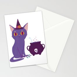 Black cat making a potion. Illustration art print Stationery Cards