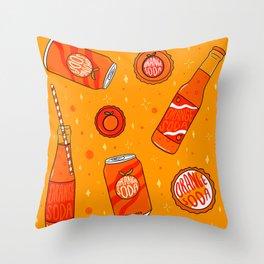 Orange Soda Print Throw Pillow