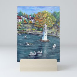 Roath Park Lake, Cardiff Mini Art Print