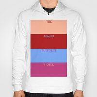 the grand budapest hotel Hoodies featuring Grand Budapest minimalist poster by cinemaminimalist