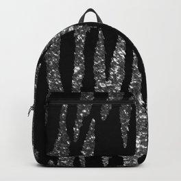 Black and Silver Glitter Zebra Stripes Backpack