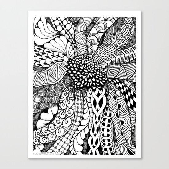 Zentangle Black and White Summer Sunflower  Canvas Print