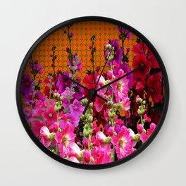 SPICE BROWN  PINK HOLLYHOCKS GARDEN Wall Clock