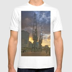 Docklands London Dusk White Mens Fitted Tee MEDIUM