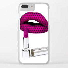 Polka dot lips Clear iPhone Case