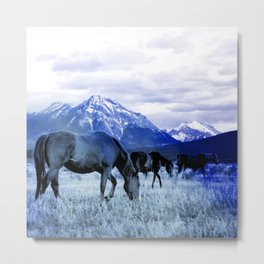 horses and mountain blue photochrom tinted aesthetic wildlife art altered photography Metal Print