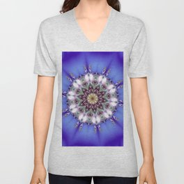 Romantic Blue Kaleidoscope Unisex V-Neck