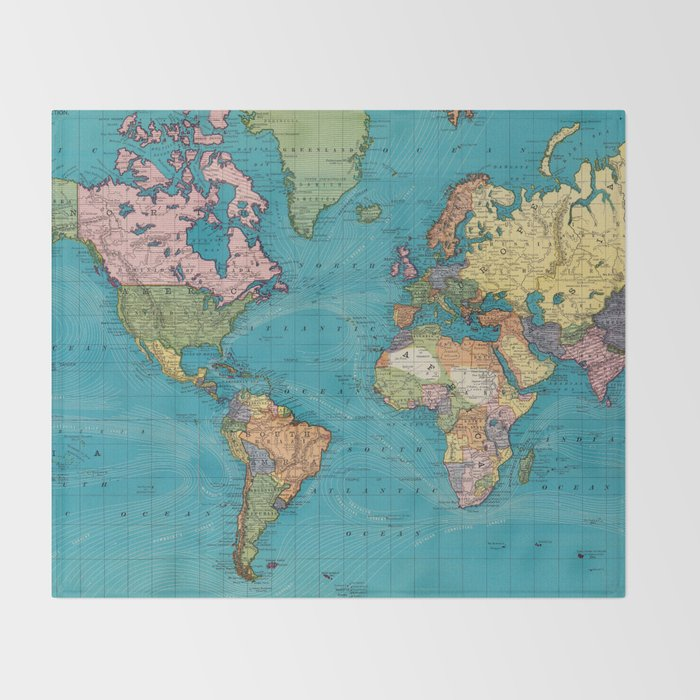 vintage map of the world 1897 throw blanket