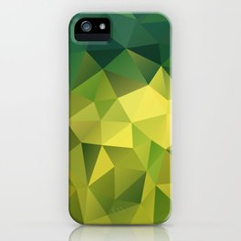 Abstract of triangles polygon in green yellow lime colors iPhone Case