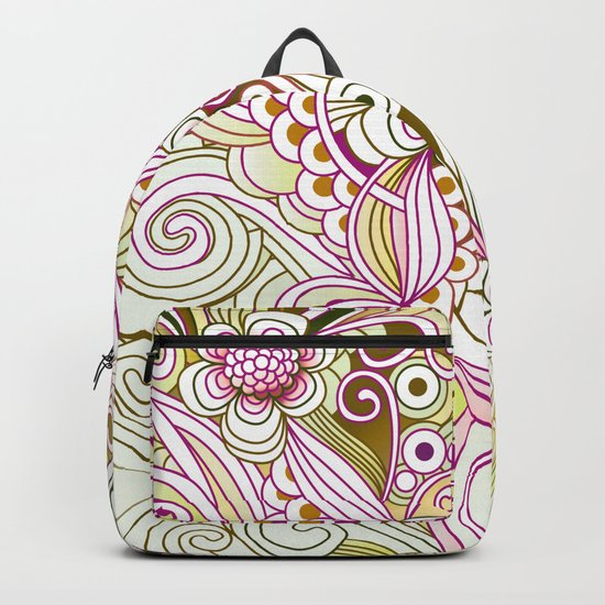 Flower fire | yellow, purple, green and ocre Backpack