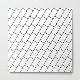 Brick like lines black and white Metal Print