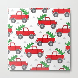 red trucks and christmas trees Metal Print