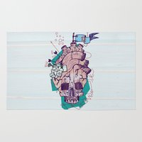 gore Area & Throw Rugs featuring Skullheart by manuvila