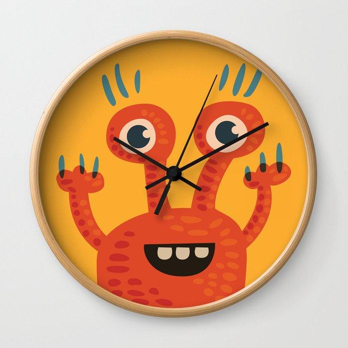 Funny Orange Happy Creature Wall Clock