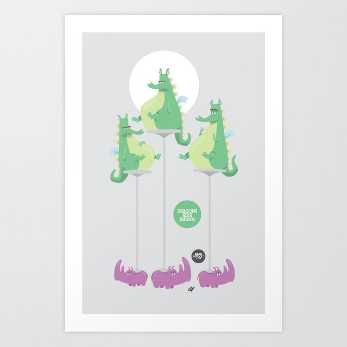 Dragons Ride Rhinos Art Print