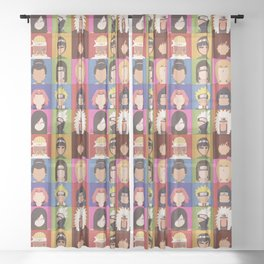 Anime Characters Sheer Curtain