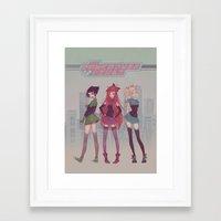 powerpuff girls Framed Art Prints featuring PowerPuff! by Mioree