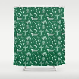 Gone Fishing // Jewel Green Shower Curtain