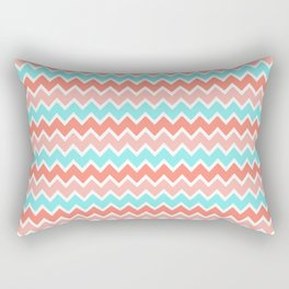 Coral Peach Pink and Aqua Turquoise Blue Chevron Rectangular Pillow