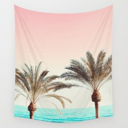 Modern California Vibes pink sky blue seascape tropical palm tree beach photography Wall Tapestry