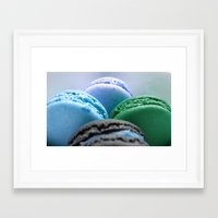 macaroons Framed Art Prints featuring MACAROONS Blue Aqua Turquoise by Whimsy Romance & Fun