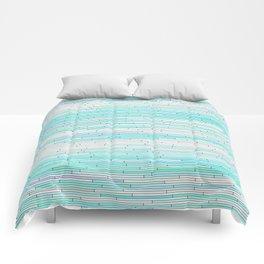 Sky Blue Random Line Sections Comforters