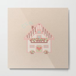 Cute little house cross stitch Metal Print