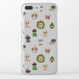 Christmas Puppies Clear iPhone Case