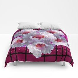 MODERN WHITE TREE PEONY FLOWERS  BURGUNDY-BLACK ART Comforters